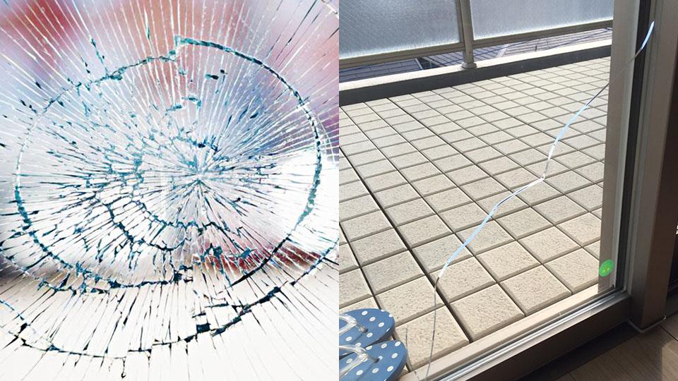 ガラスのひび割れ修理